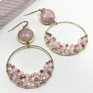 Pink Crystal Circle Drop Earrings Pink